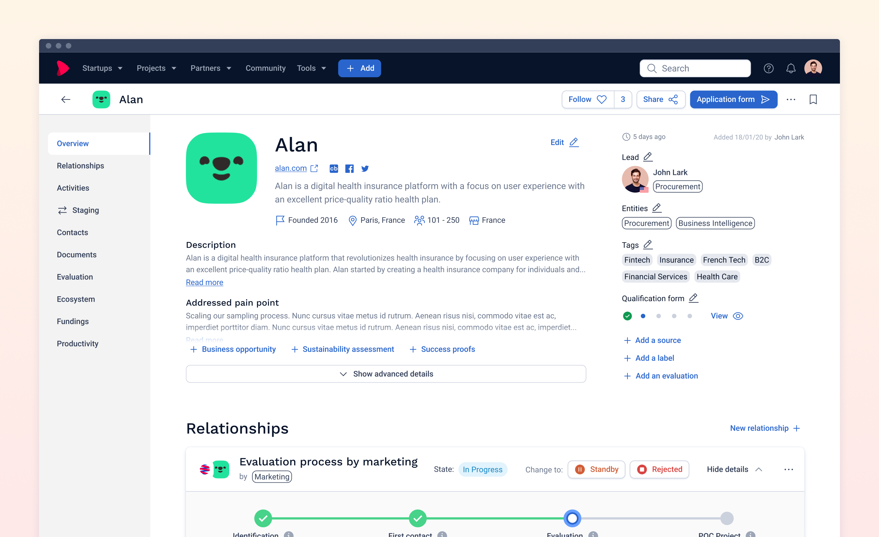 Screenshot v4.0 company page